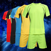 Plus Size 4XL Soccer Jerseys Football Training Set 15-16 Soccer Uniform Plain Football Suits Customize Logo Name/Number For Kids(China)