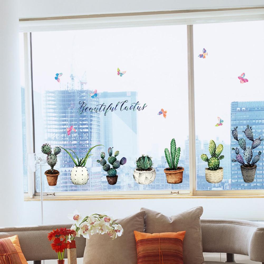 HTB1vpD5hcnI8KJjSspeq6AwIpXaa - Creative Pot Plant Cactus Wall Sticker