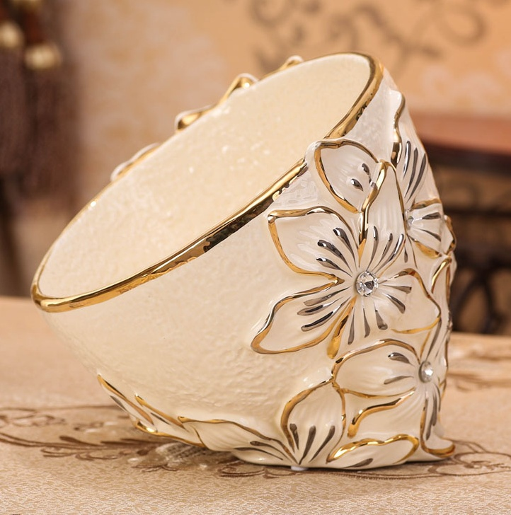 Unique Ivory Porcelain Tilting Flower Carving Fruits Bowl Decorative Ceramics Serving Basin Tableware Gift And Craft Accessories In Bowls From Home Garden