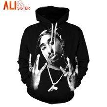 Los hombres de 3D Sudadera con capucha Hip Hop sudaderas Tupac 2Pac impreso  de manga larga con capucha suéter ropa negra con bol. f21250c296e