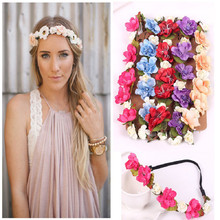 Fashion bohemian Style Rose Flower hair accessories for women Head Chain Jewelry Hollow Elastic Hair Band Headband Wedding