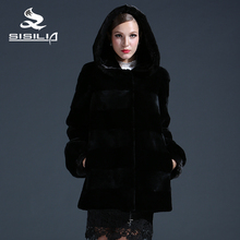 SISILIA 2016 New womens' Genuine mink fur coats,Real rabbit fur coats,With cap,Puff sleeve,Mink fur coat from natural fur