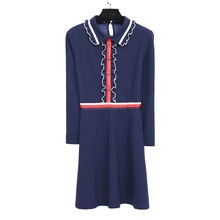 Plus Size Casual Women Dresses New 2017 Autumn Winter Fashion Peter pan Collar Cute Dress Vestidos Female Clothing Preppy Style(China)
