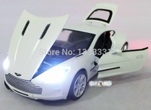 new Wanbao 1:32 Aston Martin One-77 Pull Back Acousto-optic Toys Car Classic Alloy Antique Car Model Wholesale Free Shipping(China)