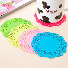 Delidge 4 pcs/set Hollow Lace Table Mat Round Shape Silicone Heat Resistant Table Pad Cup Coffee Coaster Cushion Placemat Pad