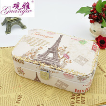 Guanya Retro printing Jewelries Box Leather Case for Jewelry Travel Case Best Birthday Gift Watch Ring Earrings Necklace Storage