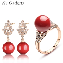 K's Gadgets Cubic Zirconia Wedding Engagement Jewellery Set Rose Gold Color Red Artificial Coral Crystal Bridal Jewelry Sets(China)