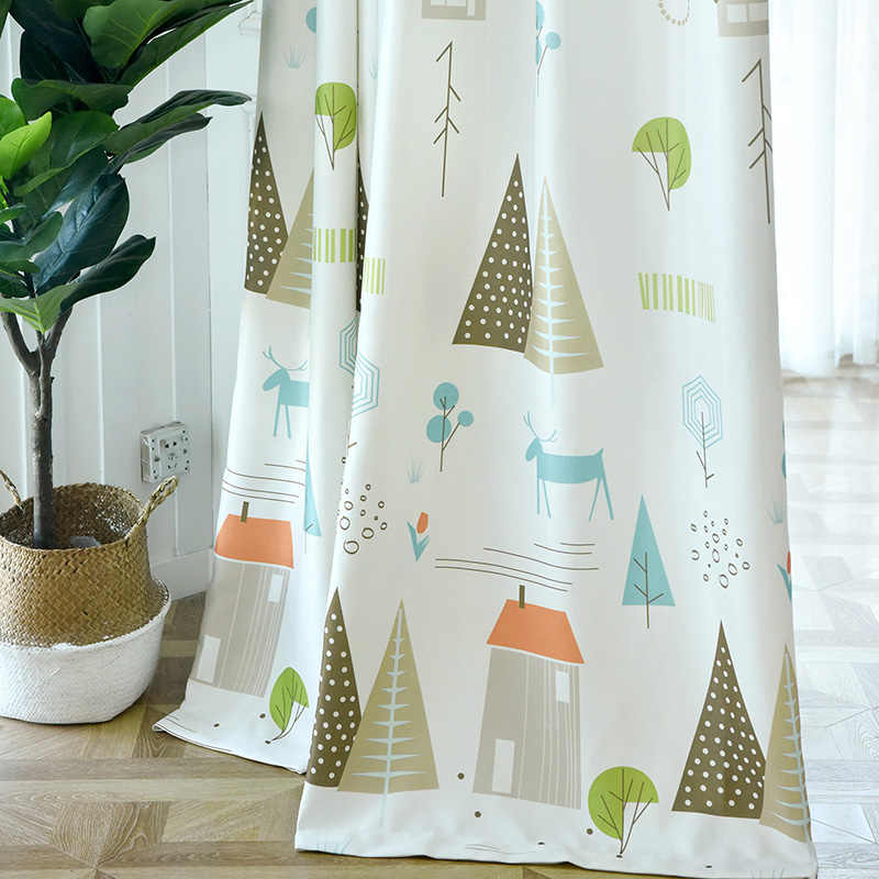 Cartoon Tree Printed Curtains for Bedroom Children Sheer Tulle Curtains Fabric for Window Living Room Tulle Drapes Decoration