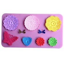 Butterfly Flowers Bow Tie Shape Fondant Cake Lace Silicone Butterfly Mold Sugar Paste Cake Decoration Sugar Art Tools CT828