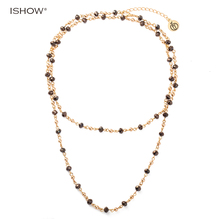 ISHOW Long multilayers Chain Necklaces for women hematite Glass beads Copper beads statement Charm bohemian necklace mujer(China)