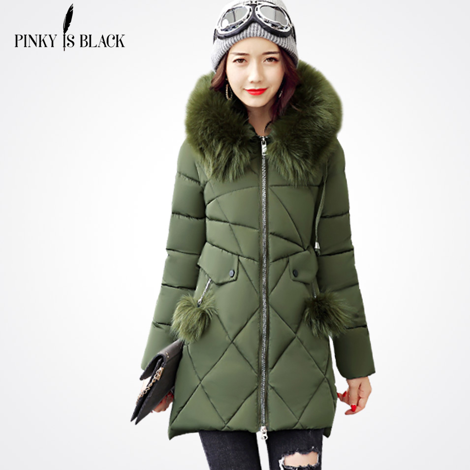 Pinky Is Black Women Parkas Winter Jacket Women Outerwear Female 2017 Plus Size 3XL Women Coat Long Thick Parka Cotton JacketsÎäåæäà è àêñåññóàðû<br><br>