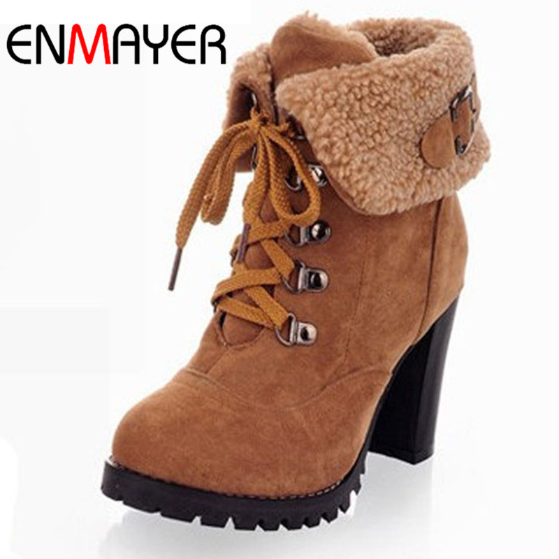 ENMAYER Shoes Woman Fashion Women Ankle Boots High Heels Lace up Snow Boots Platform Pumps  keep warm women boots drop shipping<br>