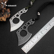 KKWOLF Handmade ax Mini pocket knife stainless steel camping Tactical survival knives black/White EDC multi rescue key tool gift(China)
