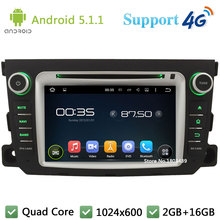 Quad Core 1024*600 Android 5.1.1 Car Multimedia DVD Player Radio Stereo 4G WIFI GPS Map For Mercedes-Benz Smart Fortwo 2011-2014
