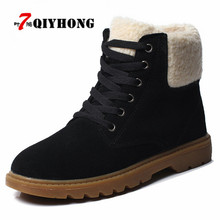 2018 New Listing Winter Women Ankle Boots Women Leather Suede Plush Warm Boots Motorcycle Boots Flat Middle Heel Fur Snow Boots(China)