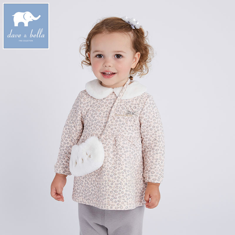 DBM6109 davebella autumn baby girls grey pink clothing sets printed suit children clothing sets floral clothes<br>