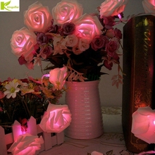 Kingoffer Battery Powered 2M 20PCS Rose Flower Novelty Garland Fairy String Lights For Wedding Garden Party Christmas Decoration(China)