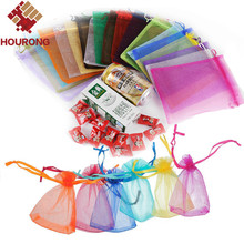 Hourong 100pcs/lot 7X9cm 9X12cm Jewelry Bag Organza Gift Bag Wedding Decoration Candy Pouch Bag Candy Box Christmas Gift Decor