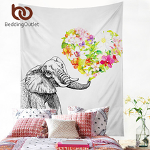 BeddingOutlet Elephant With Floral Tapestry Indian Hippie Wall Carpet White Hanging Wall Tapestries Polyester Sheet 2 Sizes Hot(China)