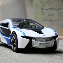 MZ 1:32 BM I8 Sports car model metallic material kids toys Open the door sound and light back to power best gift(China)