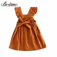 1-4y Cotton Toddler Girl Dress Summer Ruffles Baby Dress Sleeveless Backless Children Dresses Fashion Clothes for Girls