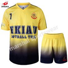Cheap sublimation printing soccer wear customized high quality football jersey personal design(China)