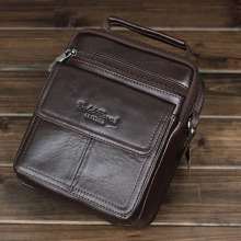 High Quality Genuine Leather Cowhide Single Shoulder Messenger Crossbody Bags Real Cowhide Purse Famous Male Small Tote Hand Bag