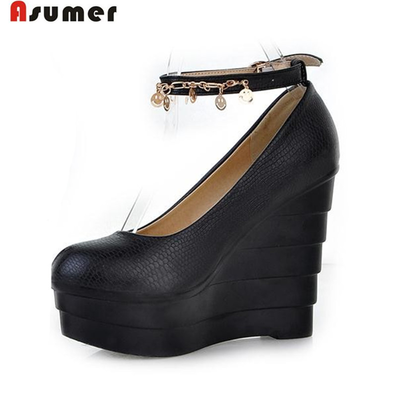 fashion round toe shoes women simple buckle strap platform shoes wedges high heels poular for spring pumps for women<br><br>Aliexpress