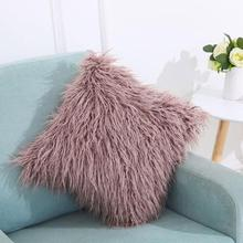 Solid Super Softer Plush Home Decor Pillow Cover Faux Fur Cushion Cover Decorative pillowcase pillowsham Lumber Pillow Case L30(China)