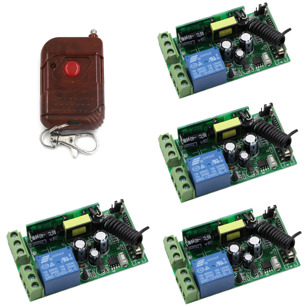 AC 85V-250V Wireless Remote Control Switch Remote Power Switch 1CH Relay Wireless Switches 4pcs Receiver &amp; Transmitter<br>