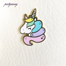 PF Childlike Cartoon Brooch Charm Unicorn Badges Enamel Pin Clothes Dress Bag Jewelry Children Girls Clothing Accessories TS1461