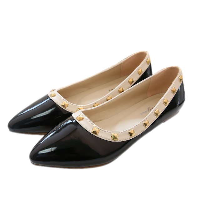 New Rivet Pointed Toe Women Color Block Patent Leather Fashion Flat Sexy Women Ballet Flat Shoes Brand Flats BT106<br><br>Aliexpress