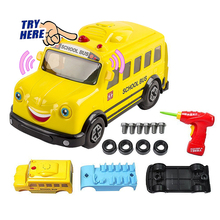 DIY Assembled School Bus Scale Model Building Kits With Lights and Sounds, Play set with Real Power Drill Educational toys(China)