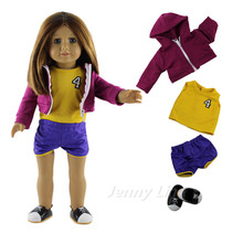 "High Quality Basketball Clothes Outfit+Shoes for 18""American Girl(China)"