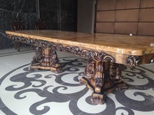 2.5m dining table European marble table pure solid wood hand carved large table 2 meters 3 meters(China)