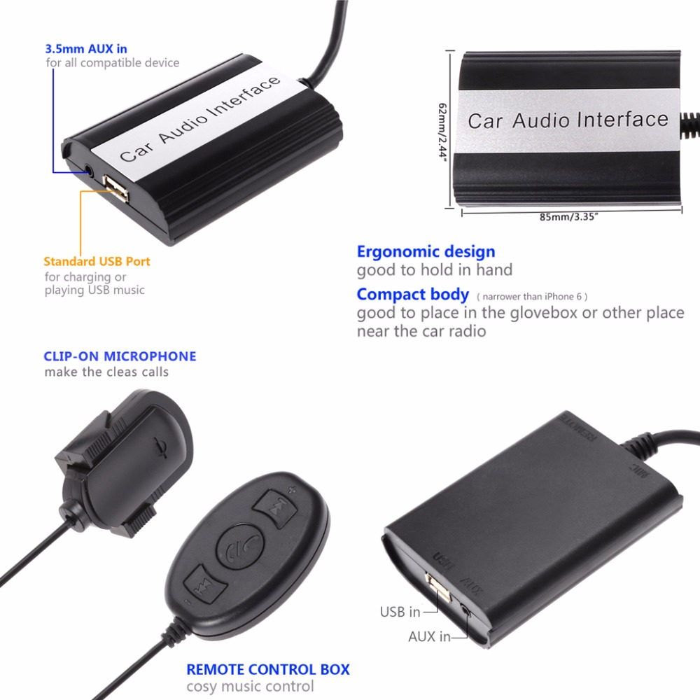 2018 Car Stereo Bluetooth Kits Mp3 Player Aux Adapter Interface Usa Seller Dual Audio 12pin Wire Harness Radio Power Plug 1x User Manual