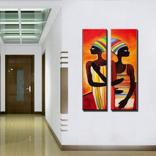 Acrylic african woman painting abstraite modern figure painting vertical handmade decoration oil paintings for living room wall