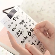 8sheets/lot Cute Stationery Art Words Transparent PVC Kawaii Album Diary Scrapbooking Cell Phone Stickers