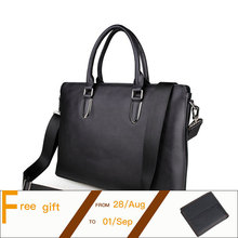 Import Genuine Leather Black Fashion Men's Briefcase  Business Handbag 14 Inch Laptop Bag  PR087274