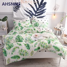 AHSNME Spring Cool New 100% Cotton Bedlinen Luxury bedclothes Bedcover Tropical Green Plant Leaf Duvet Cover Bedding Set(China)