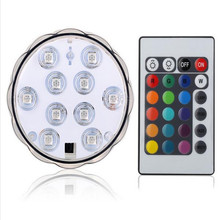 (One Lights + One Remote) Super Bright 10 LED Multicolor Submersible Party Vase Base Light Bright Lamp Remote Controller(China)