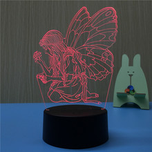 Colorful Fairy Girl Butterfly Wing LED Night Light 3D Hologram Lamp Color Change Decor Girls Birthday Christmas New Year Gifts(China)
