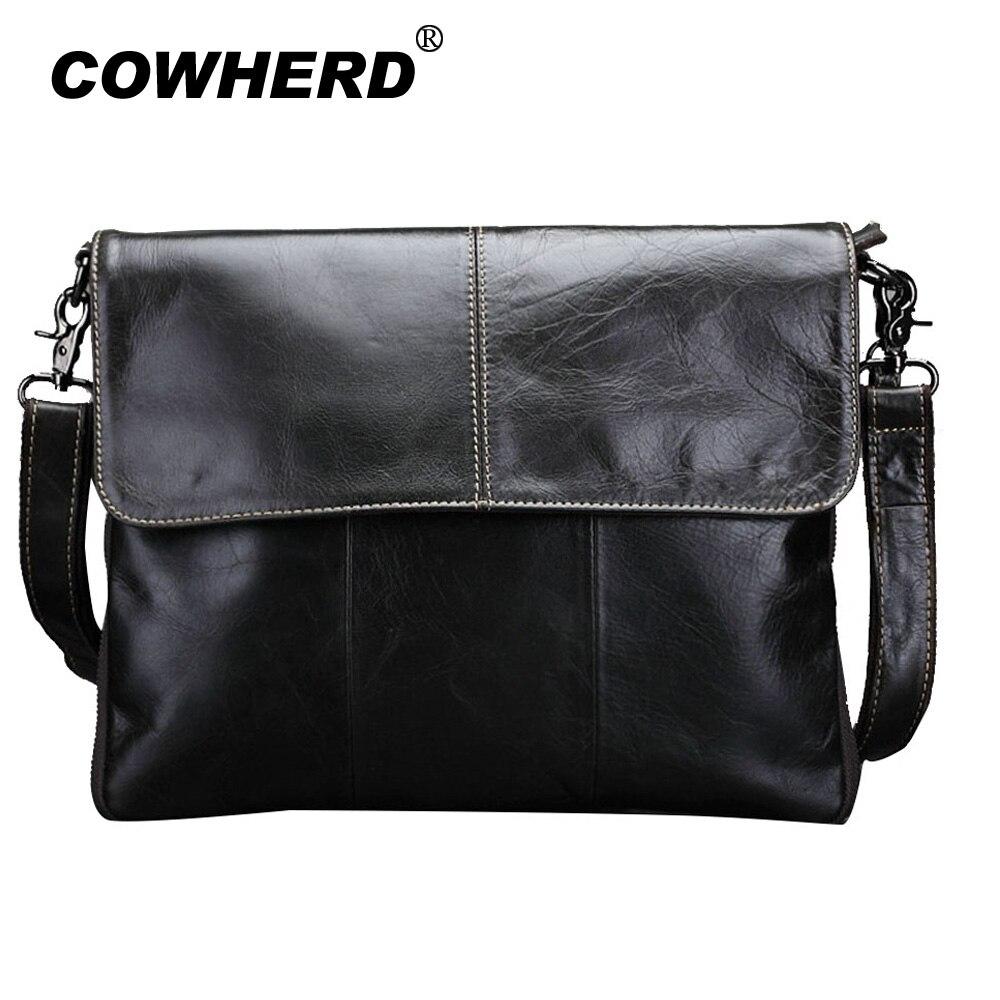 COWHERD High Quaility Oil Wax Skin Business Handbag Men First Layer Genuine Cowhide Leather Clutch Male Shoulder Messenger Bags<br>