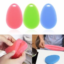 1pc Silicone Scouring Pad Multi-function High Quality Soft Silicone Dish Kitchen Bow Washing Pad Brush Cleaning Tools