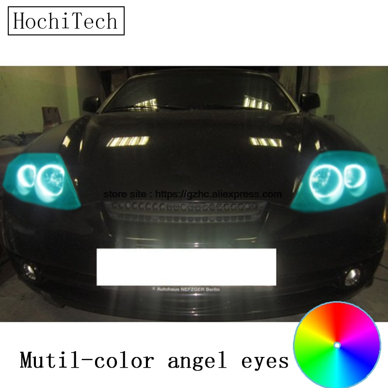 HochiTech for Hyundai Tiburon 2003-2006 car styling RGB LED Demon Angel Eyes Kit Halo Ring Day Light DRL with a remote control<br>