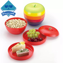 Wishome Apple Shape Plastic Snacks Dish Multifunctional Simple Home Party Dried Fruit Snack Plate ZH-104967(China)