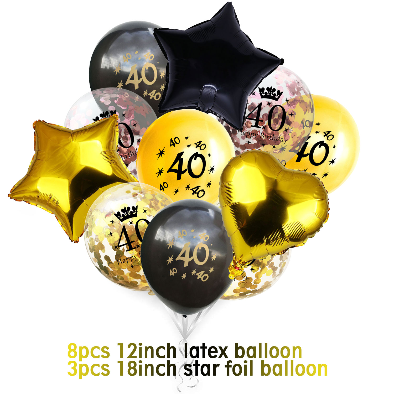 Nameblack Gold Birthday Balloon Kit 14pcs 12inch Confetti 24pcs Latex 33pcs 18inch Star Heart Foil