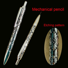Original Unique Design Deboss Propelling Pencil for School Student Writing Stationery 0.5mm Cute Etching Brass Mechanical Pencil