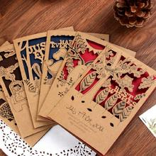 12pcs/set Retro Small Animal Hollowed Kraft Paper Greeting Card Postcard Birthday Gift Card Set Mother Day Message Card