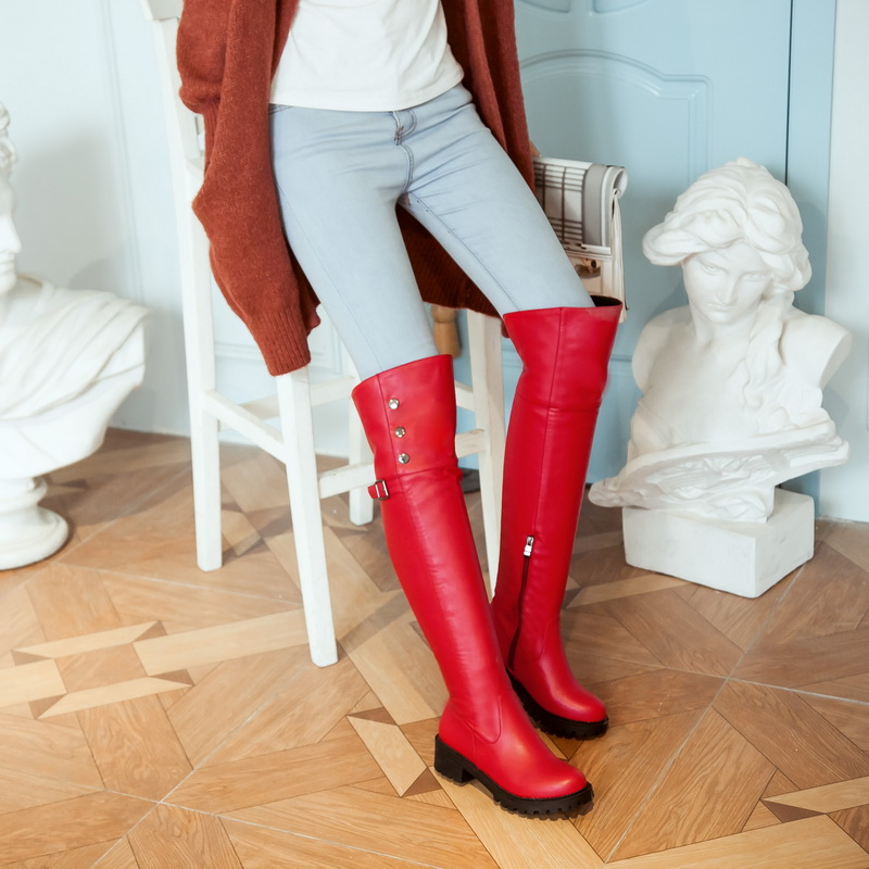 Size 34-44 women thigh high boots square heel platform shoes women long boots over the knee heeled boots for women leather boots<br>
